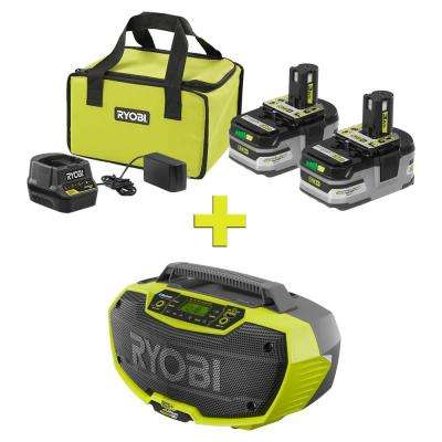 18-Volt ONE+ LITHIUM+ HP 3.0 Ah Battery (2-Pack) Starter Kit with Charger and Bag with Bonus ONE+ Hybrid Stereo with BT