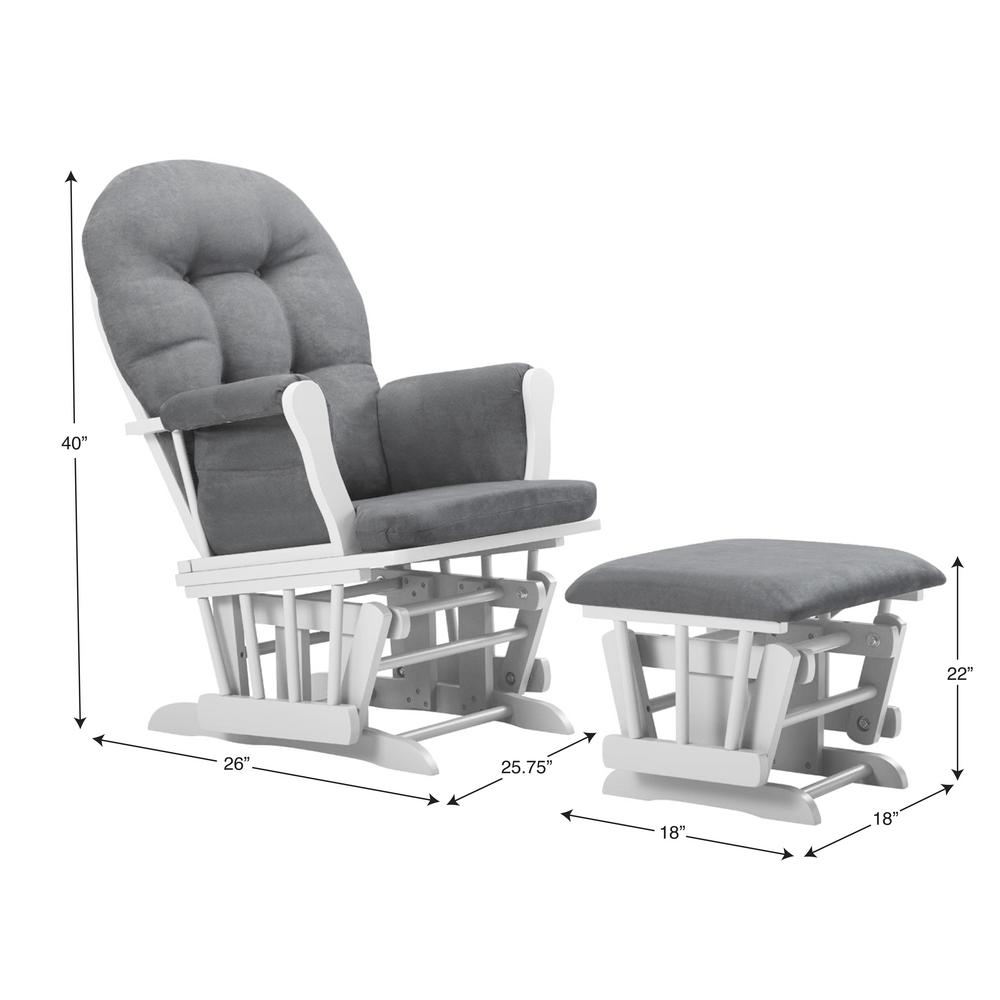 Super Bentley White Dark Gray Glider And Ottoman Andrewgaddart Wooden Chair Designs For Living Room Andrewgaddartcom