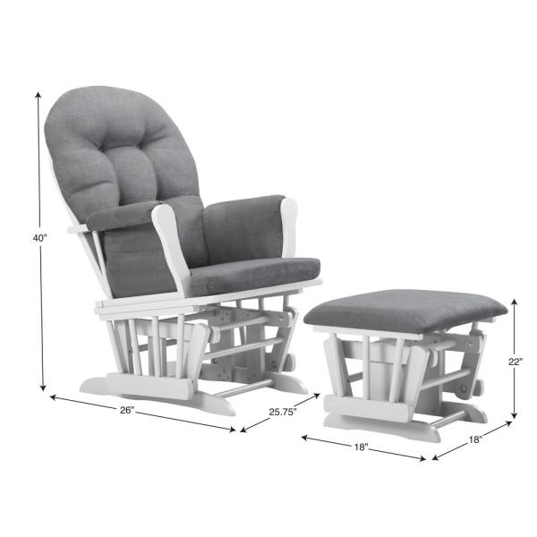 Prime Bentley White Dark Gray Glider And Ottoman Andrewgaddart Wooden Chair Designs For Living Room Andrewgaddartcom