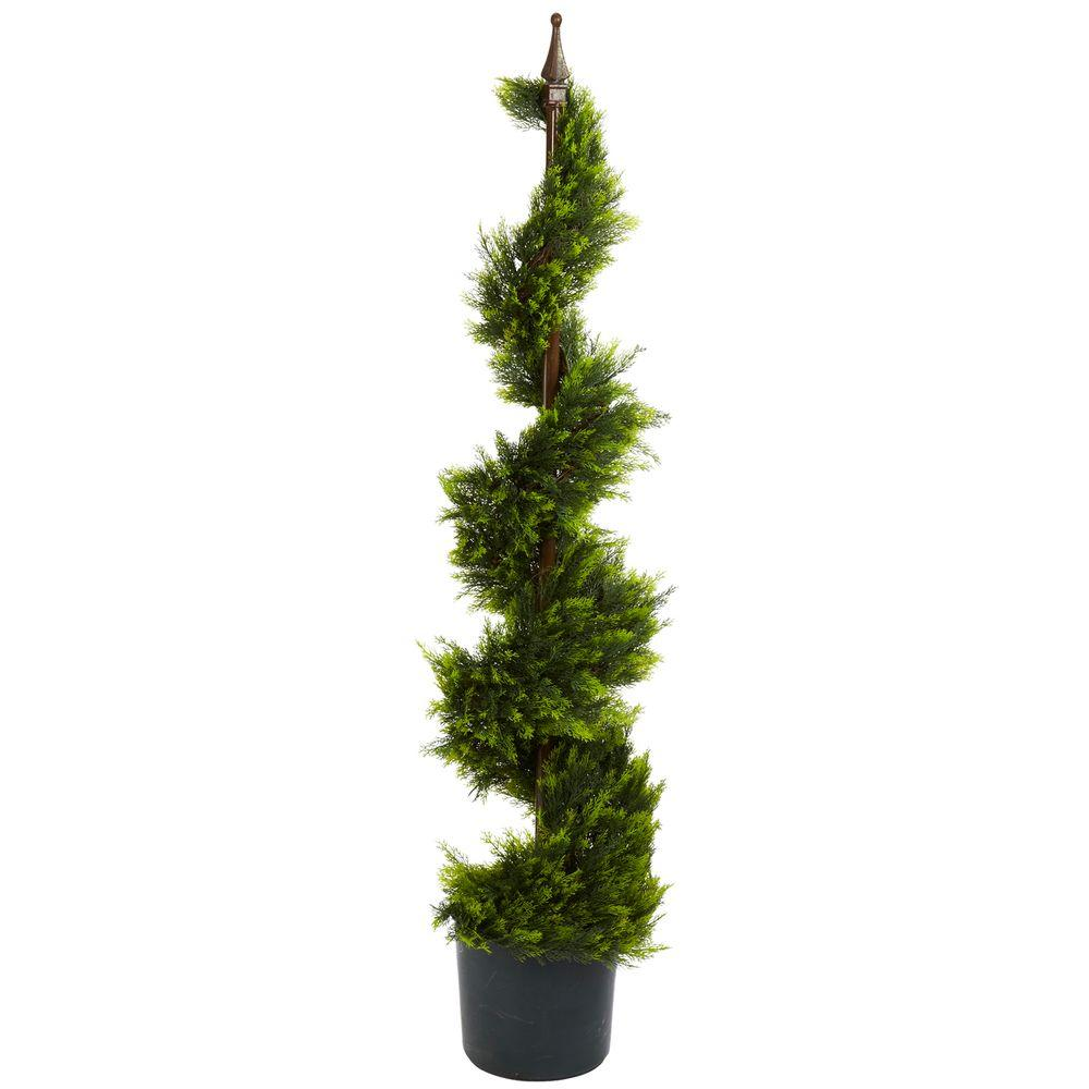4 ft. Green Cypress Spirial Silk Tree