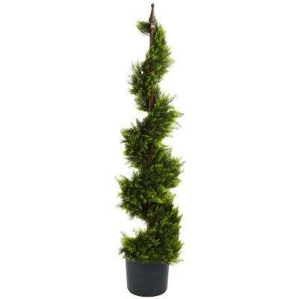 4 ft. Green Cypress Spirial Silk Tree