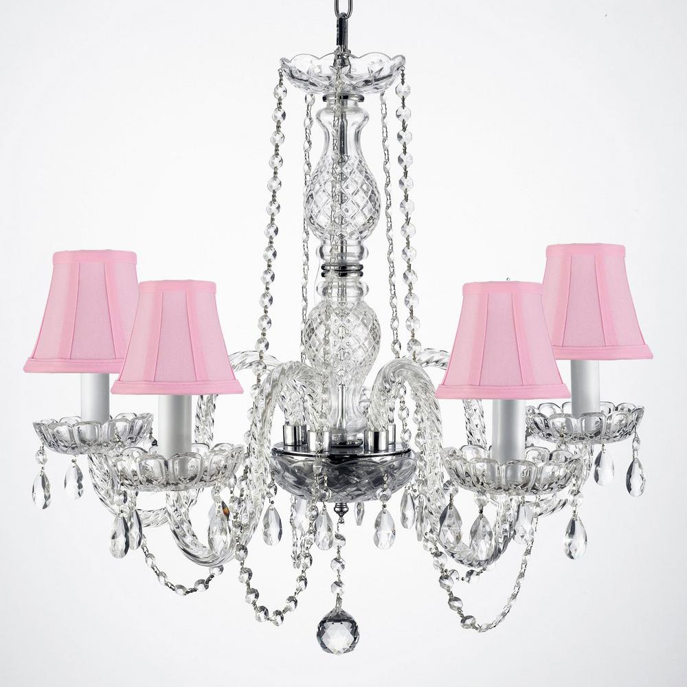 Empress crystal 5 light clear crystal chandelier with pink shades empress crystal 5 light clear crystal chandelier with pink shades arubaitofo Image collections