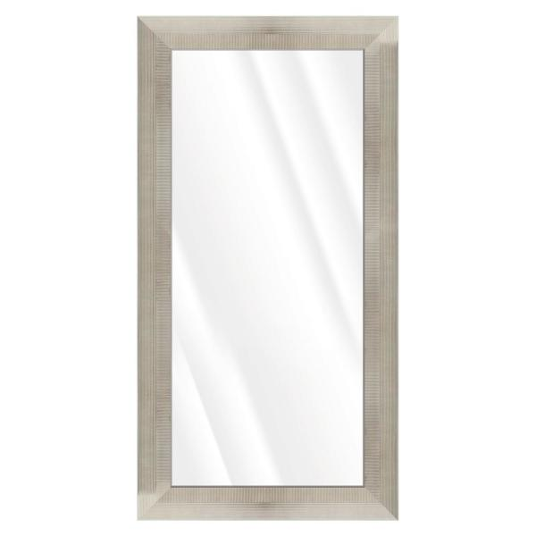 Large Rectangle Silver & Ivory Beveled Glass Contemporary Mirror (55.5 in. H x 31.5 in. W)