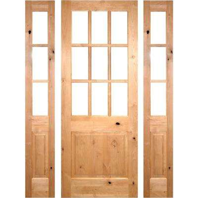64 in. x 96 in. Rustic Knotty Alder Clear 9-Lite clear stain Wood Right Hand Inswing Single Prehung Front Door/Sidelites