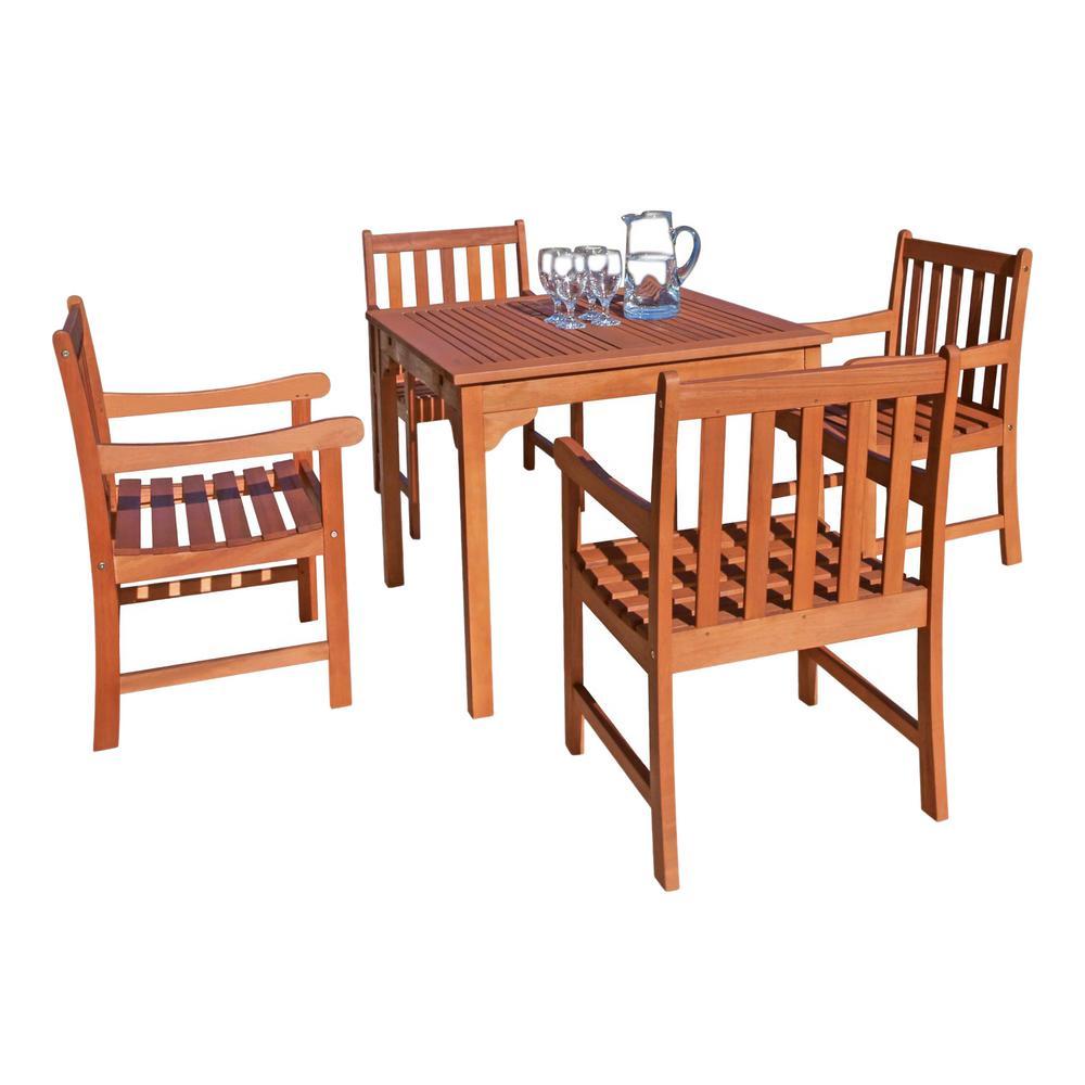 Malibu 5-Piece Wood Square Outdoor Dining Set