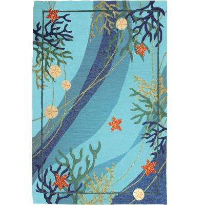 Underwater Coral and Starfish Blue 8 ft. x 10 ft. Indoor/Outdoor Area Rug