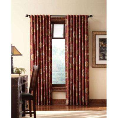 Semi-Opaque Terracotta Floral Cottage Back Tab Curtain