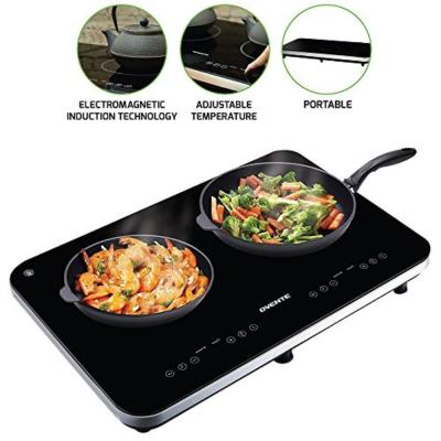 Double Cooktop 23 in. Black Hot Plate with Temperature Control Timer and Digital LED Touchscreen Display (BG62B)