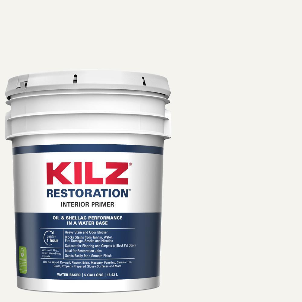 Kilz restoration 5 gal white interior primer sealer and - Kilz 5 gallon interior oil primer ...