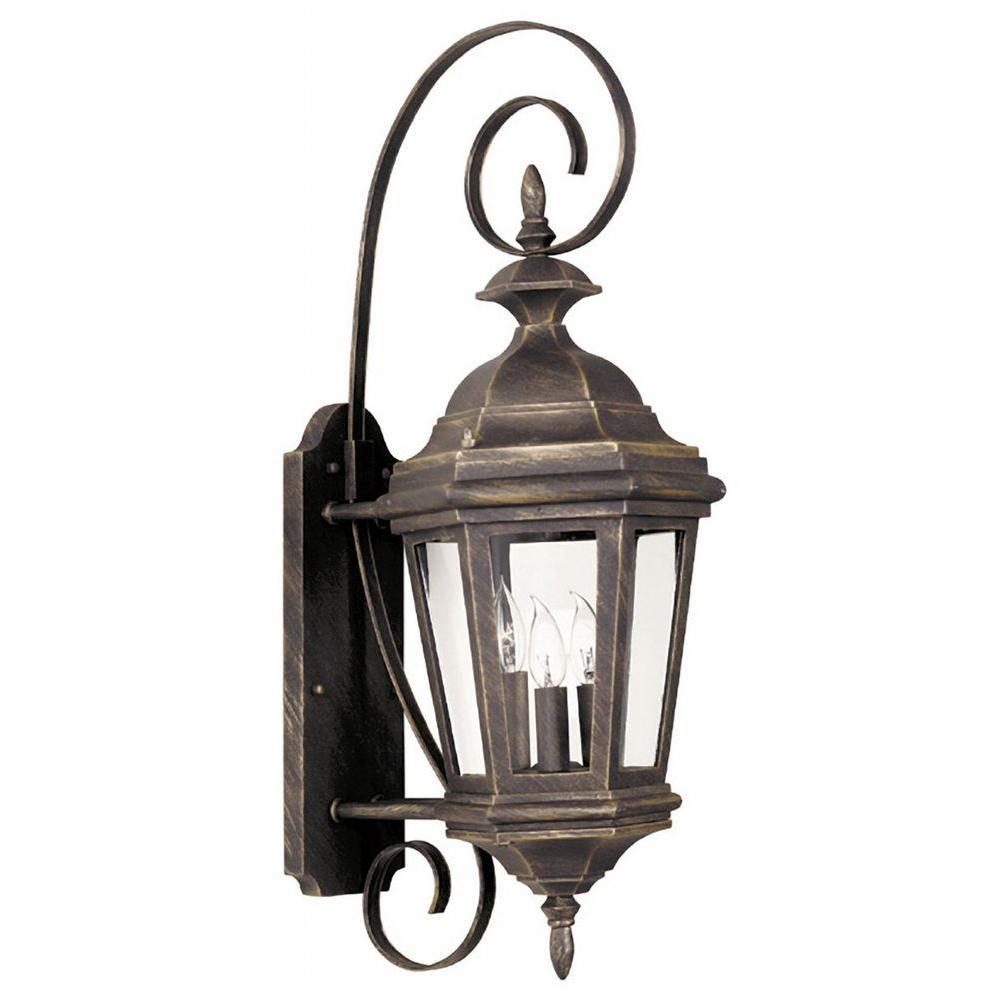 Kenroy Home Estate 3-Light Antique Patina Wall Lantern Sconce