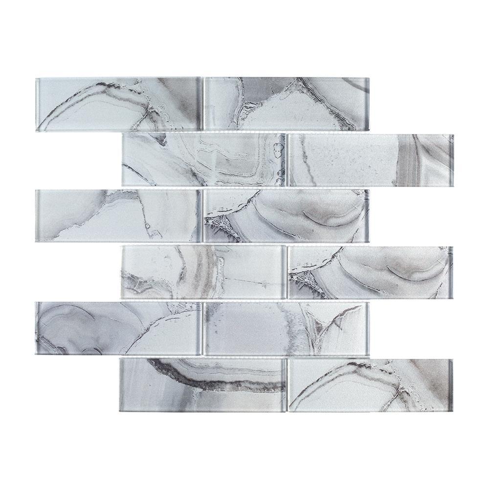 Geode Brick Gray Interlocking 11.625 in. x 11.75 in. x 8mm Glass Mosaic Tile