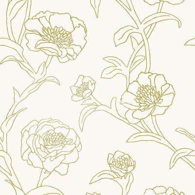 Peonies Gold Leaf Vinyl Peelable Roll (Covers 28 sq. ft.)