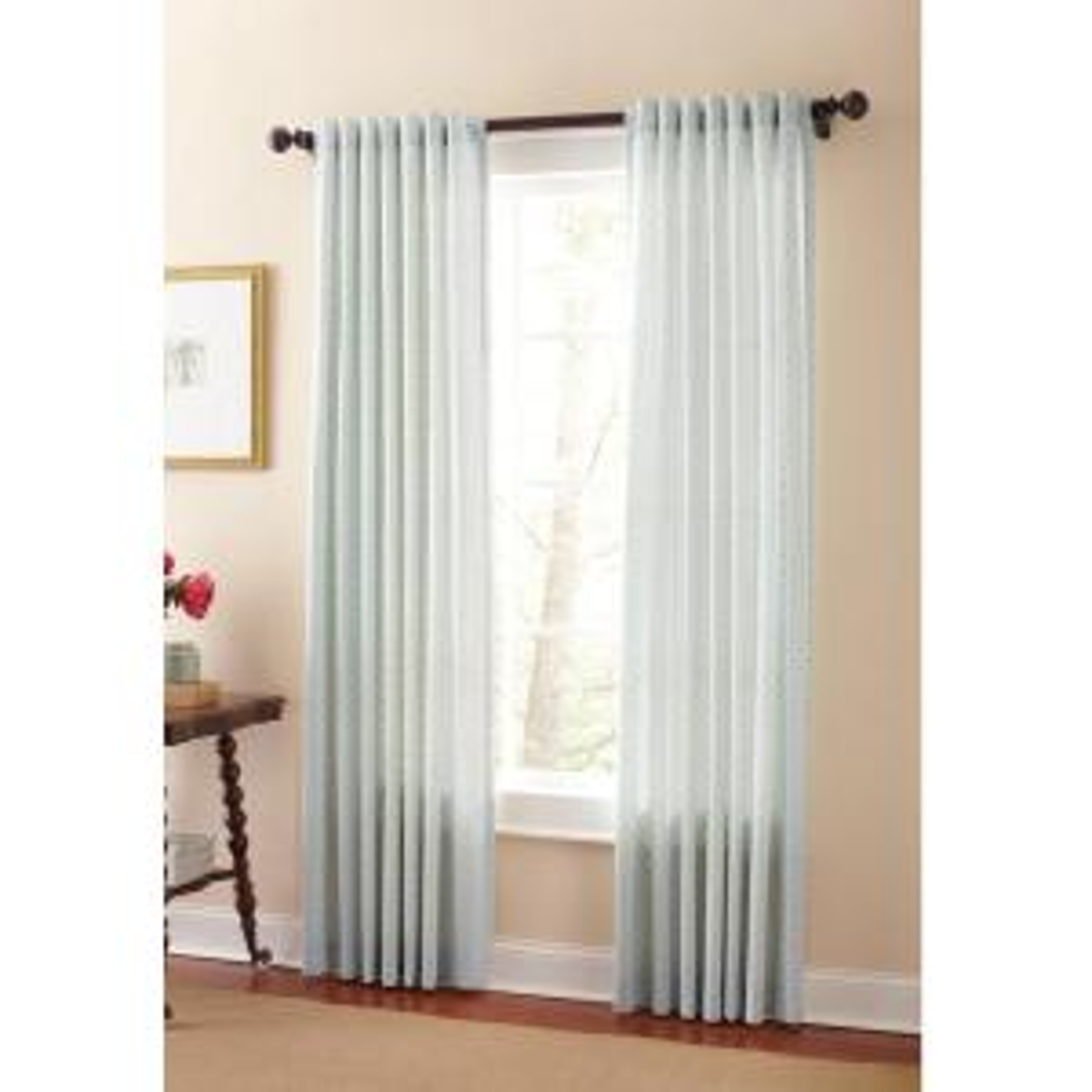 Martha Stewart Living Semi Opaque River Mist Moroccan Geo Back Tab  Curtain 1622322   The Home Depot
