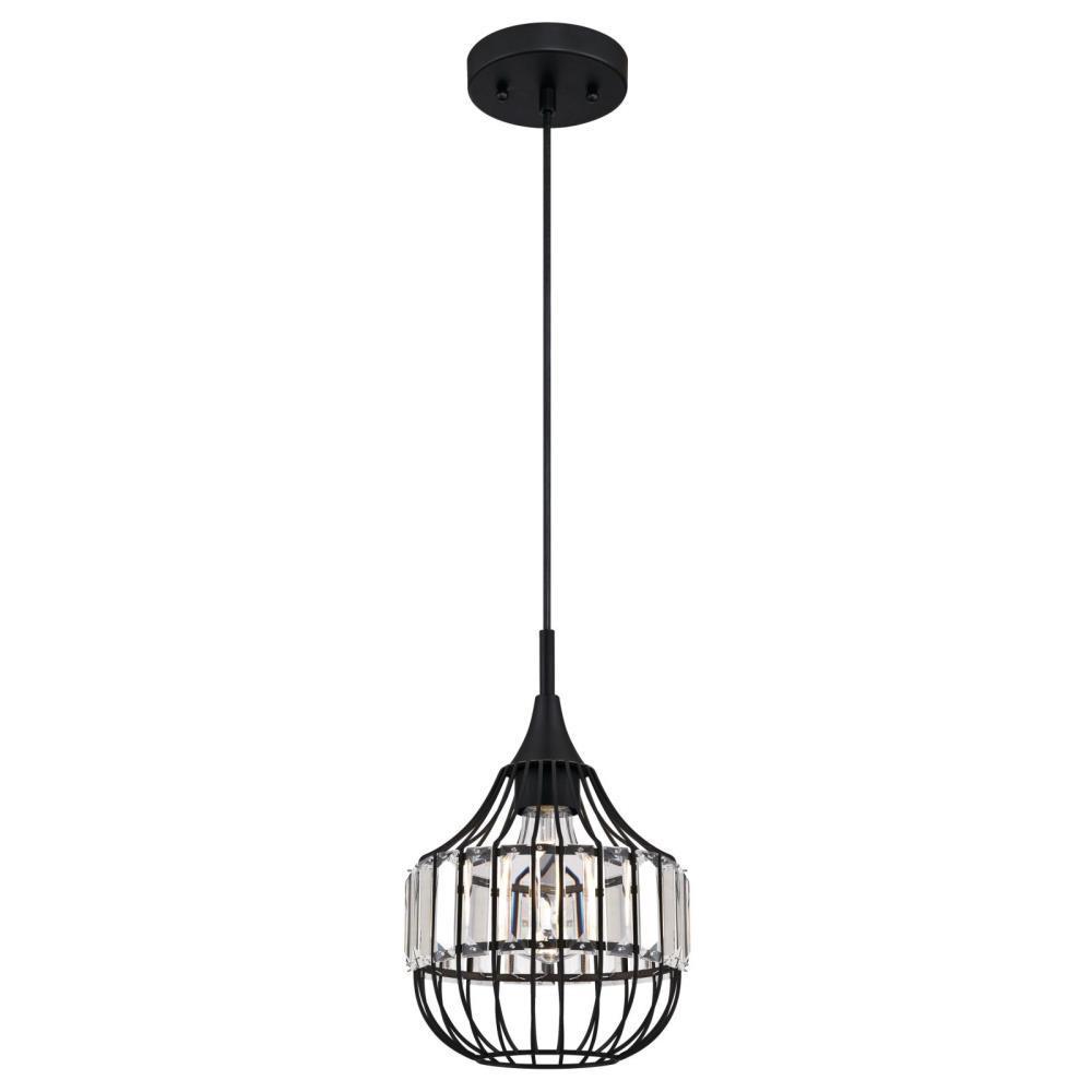1-Light Matte Black Mini Pendant