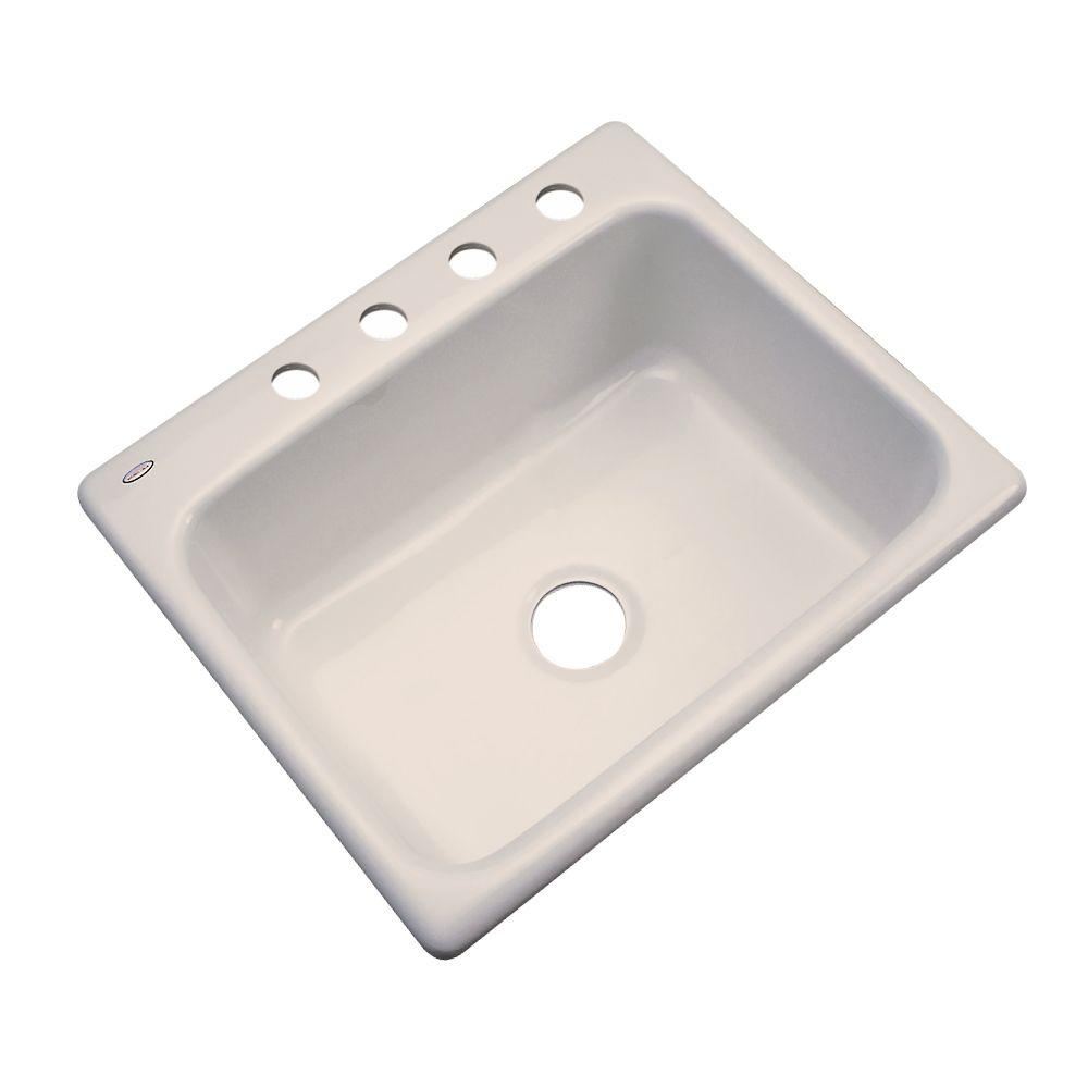 Inverness Drop-In Acrylic 25 in. 4-Hole Single Bowl Kitchen Sink in