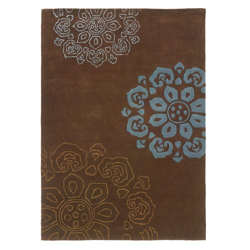 Linon home decor trio collection chocolate and blue 5 ft Home decor rugs