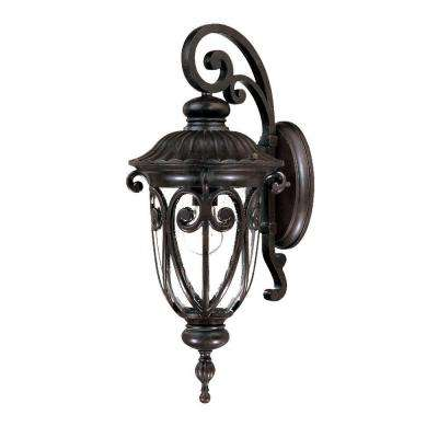 Naples Collection 1-Light Marbleized Mahogany Outdoor Wall-Mount Light Fixture