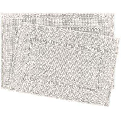 Cotton Stonewash Racetrack Light Grey 20 in. x 32 in Solid Bordered 2-Piece Bath Rug Set