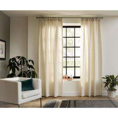 95 in. Intensions Curtain Rod Kit in Forest with Bell Finials with Open Brackets and Rings