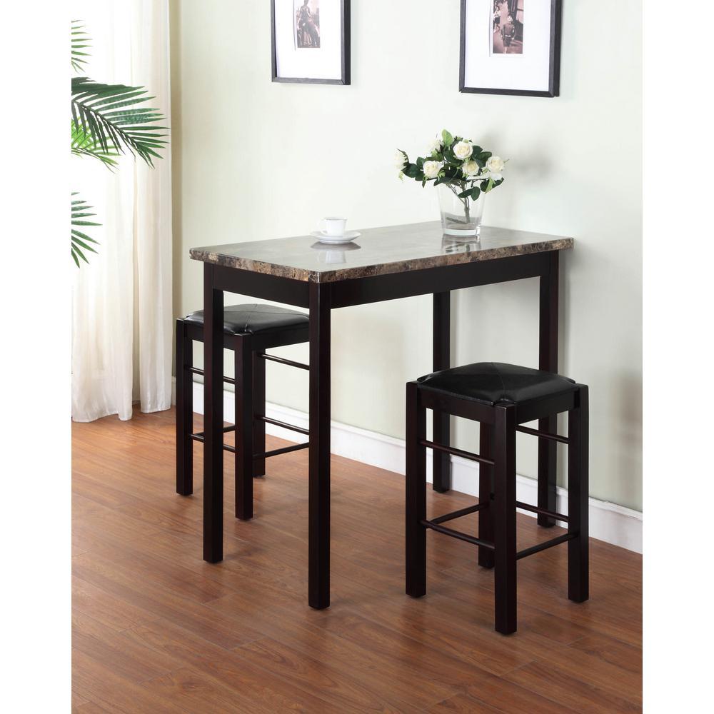 Tavern 3-Piece Espresso Bar Table Set by