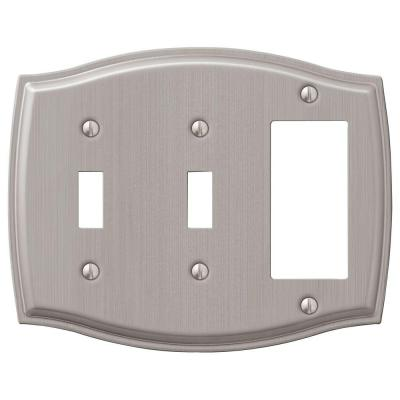 Vineyard 3 Gang 2-Toggle and 1-Rocker Steel Wall Plate - Brushed Nickel