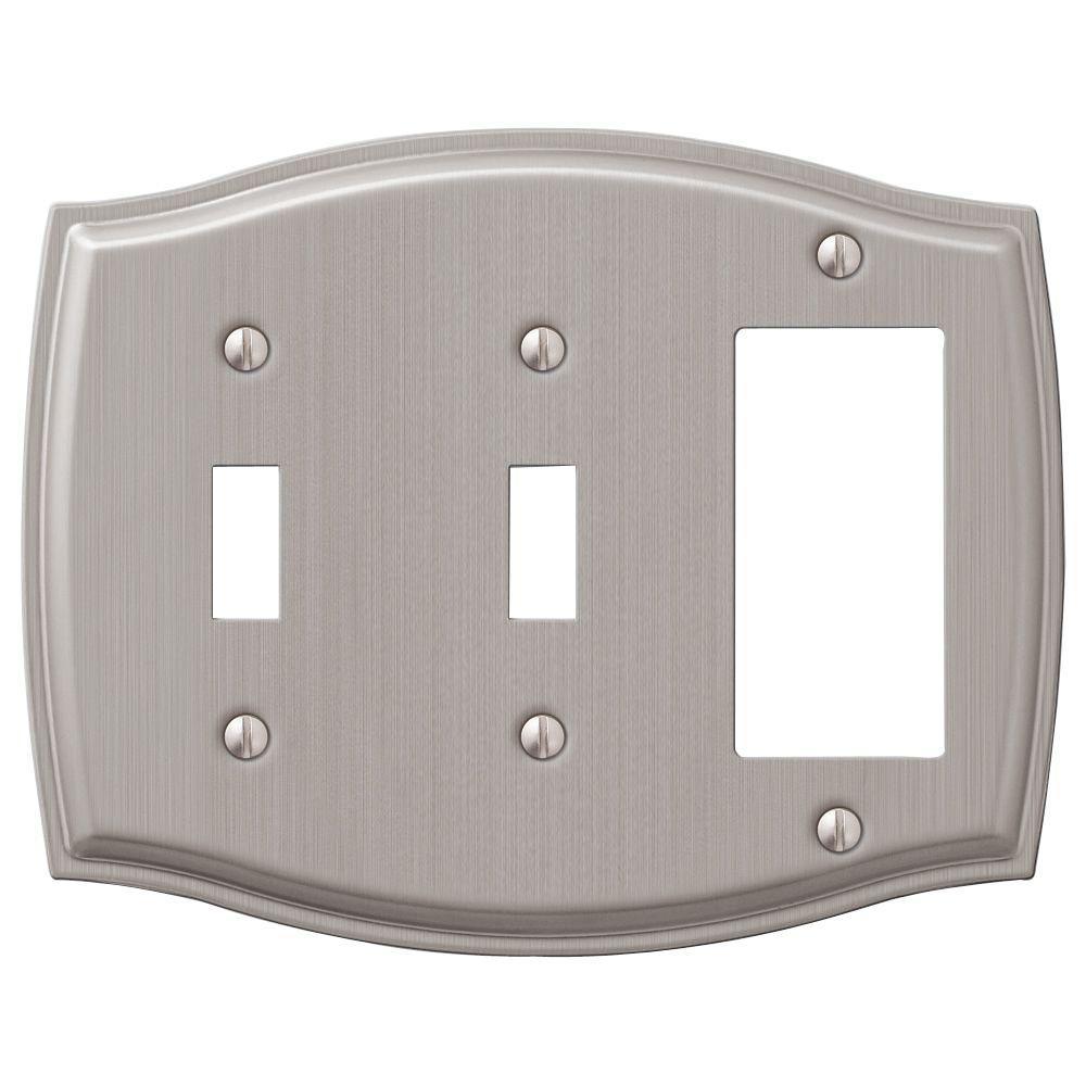 Vineyard 3 Gang 2-Toggle and 1-Rocker Steel Wall Plate - Brushed Nickel