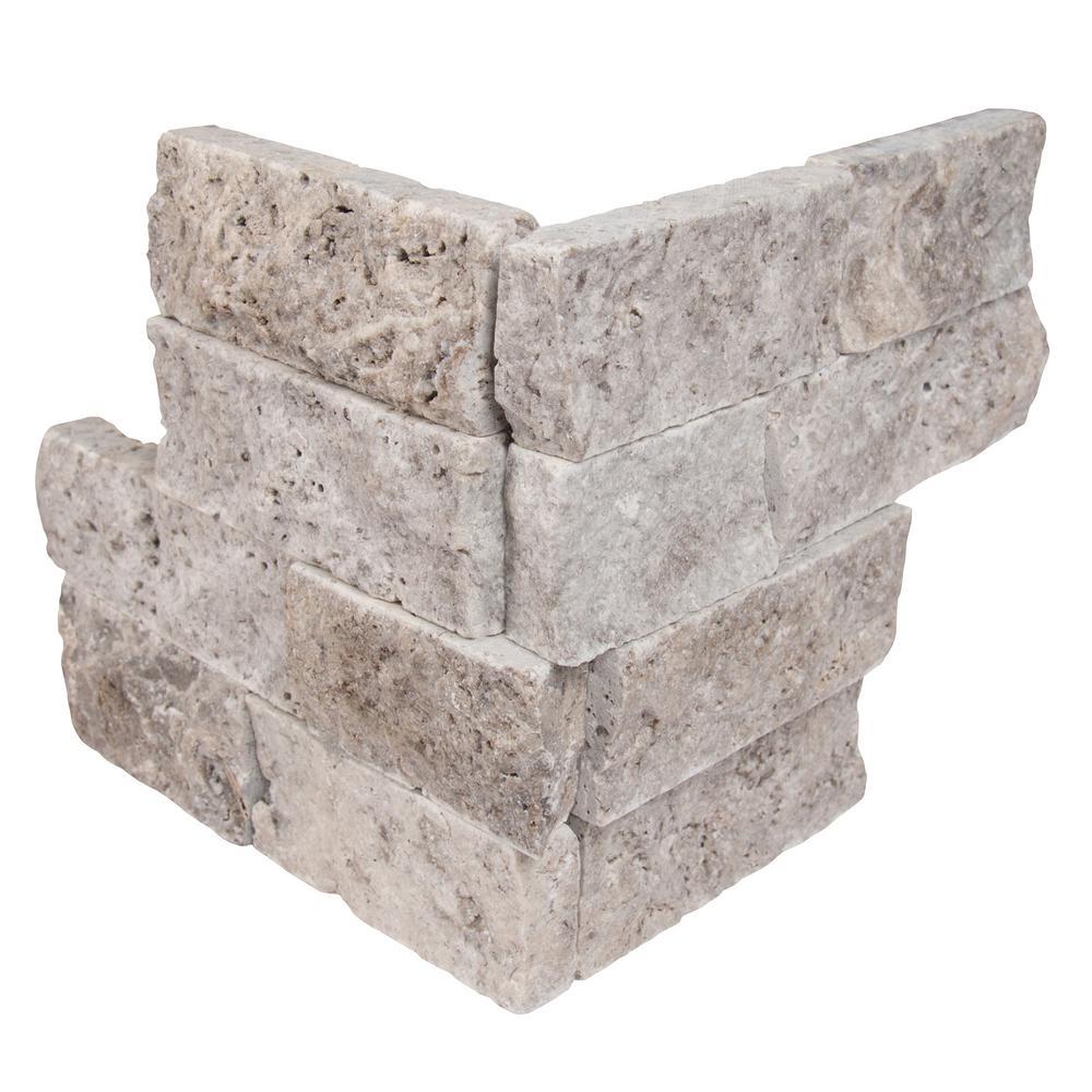 Trevi Gray Ledger Corner 6 in. x 6 in. x 6 in. Natural Travertine Wall Tile (2.5 sq. ft. / case)