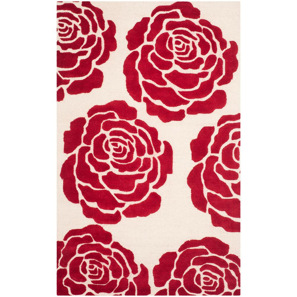 Cambridge Ivory/Red 4 ft. x 6 ft. Area Rug