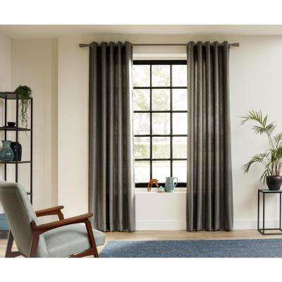 95 in. Intensions Curtain Rod Kit in Smoke with Saxy Finials and Ceiling Brackets