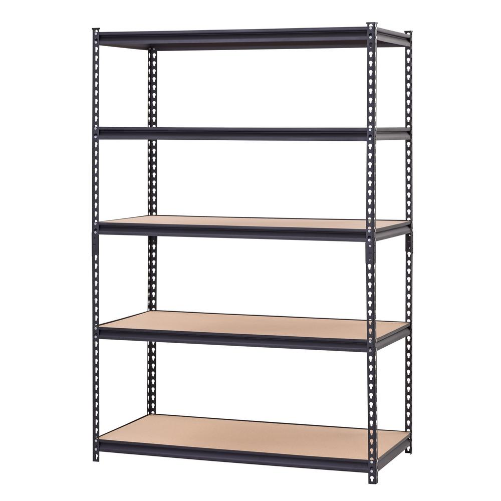 Muscle Rack 48 in. W x 72 in. H x 24 in. D Black Steel Particle Board 5 Tier Industrial Shelving Unit