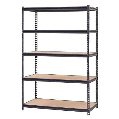 48 in. W x 72 in. H x 24 in. D Black Steel Particle Board 5 Tier Industrial Shelving Unit