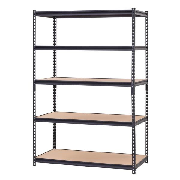 Black 5-Tier Heavy Duty Steel Garage Storage Shelving (48 in. W x 72 in. H x 24 in. D)