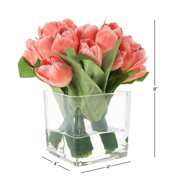 Pure Garden Tulip Floral Arrangement With Vase And Faux Water Hw1500125 The Home Depot