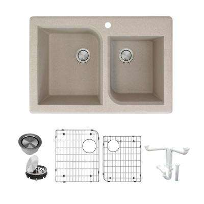Radius All-in-One Drop-in Granite 33 in. 1-Hole 1-3/4 in. D-Shape Double Bowl Kitchen Sink in Cafe Latte