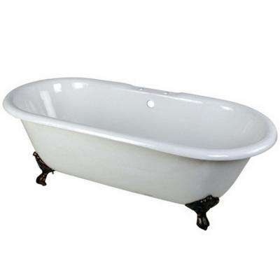 Classic 5.5 ft. Cast Iron Oil Rubbed Bronze Claw Foot Double Ended Tub with 7 in. Deck Holes in White