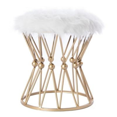 Round Gold Metal Accent Vanity Stool with White Fur Top Seat, Decorative Side Table