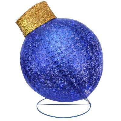 36 in. Christmas LED Lighted Blue Twinkling Glitter Ball Ornament Outdoor Decoration
