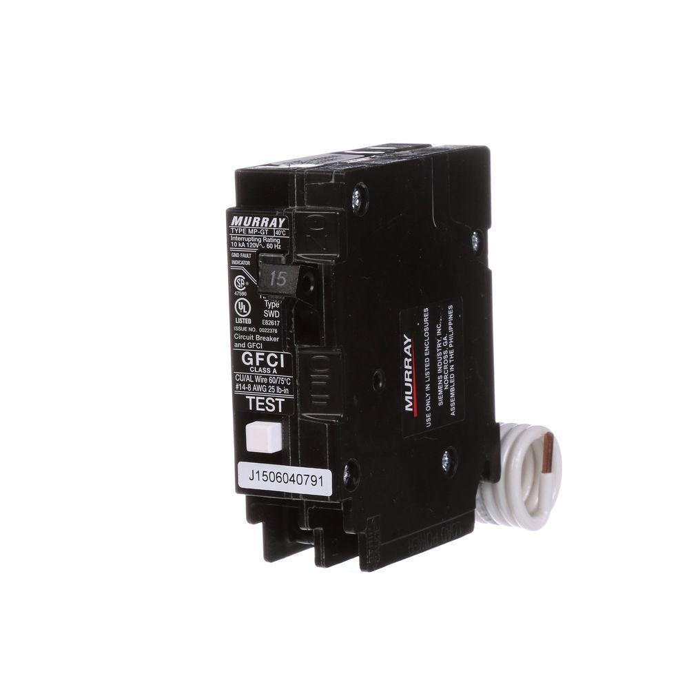 Murray 15 Amp Single-Pole Type MP-GT GFCI-Circuit Breaker