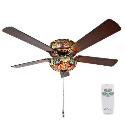 Halston 52 in. Indoor Red Stained Glass Ceiling Fan