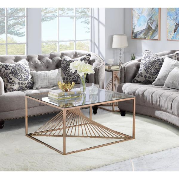 Acme Furniture Tralen Brushed Copper And Clear Glass Coffee Table