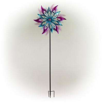 """Alpine Corporation 64"""" Tall Outdoor Floral Windmill Stake with Gems Kinetic Spinner, Purple and Aqua"""