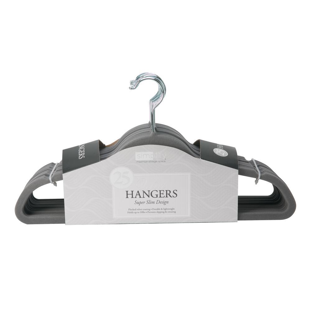Slim Grey Velvet Suit Hanger (25-Pack)