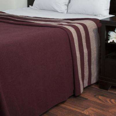 Burgundy Australian Wool Twin Blanket