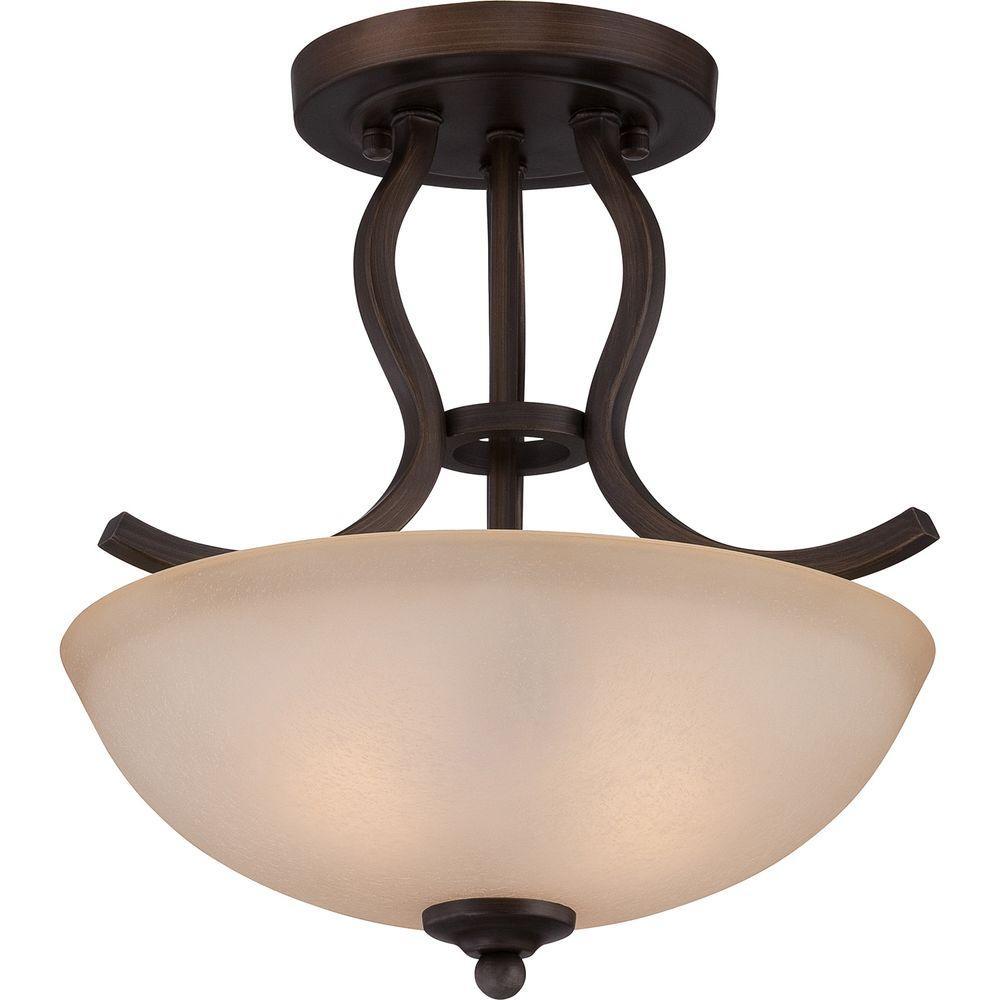 Illumina Direct Abxia 2-Light Bronze Patina Semi-Flush Mount Light