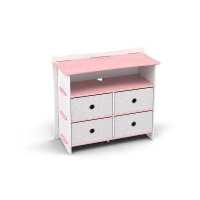 Kid's Dresser with 4 Canvas Drawers and 2 Shelves in Princess Pink and White for Kids
