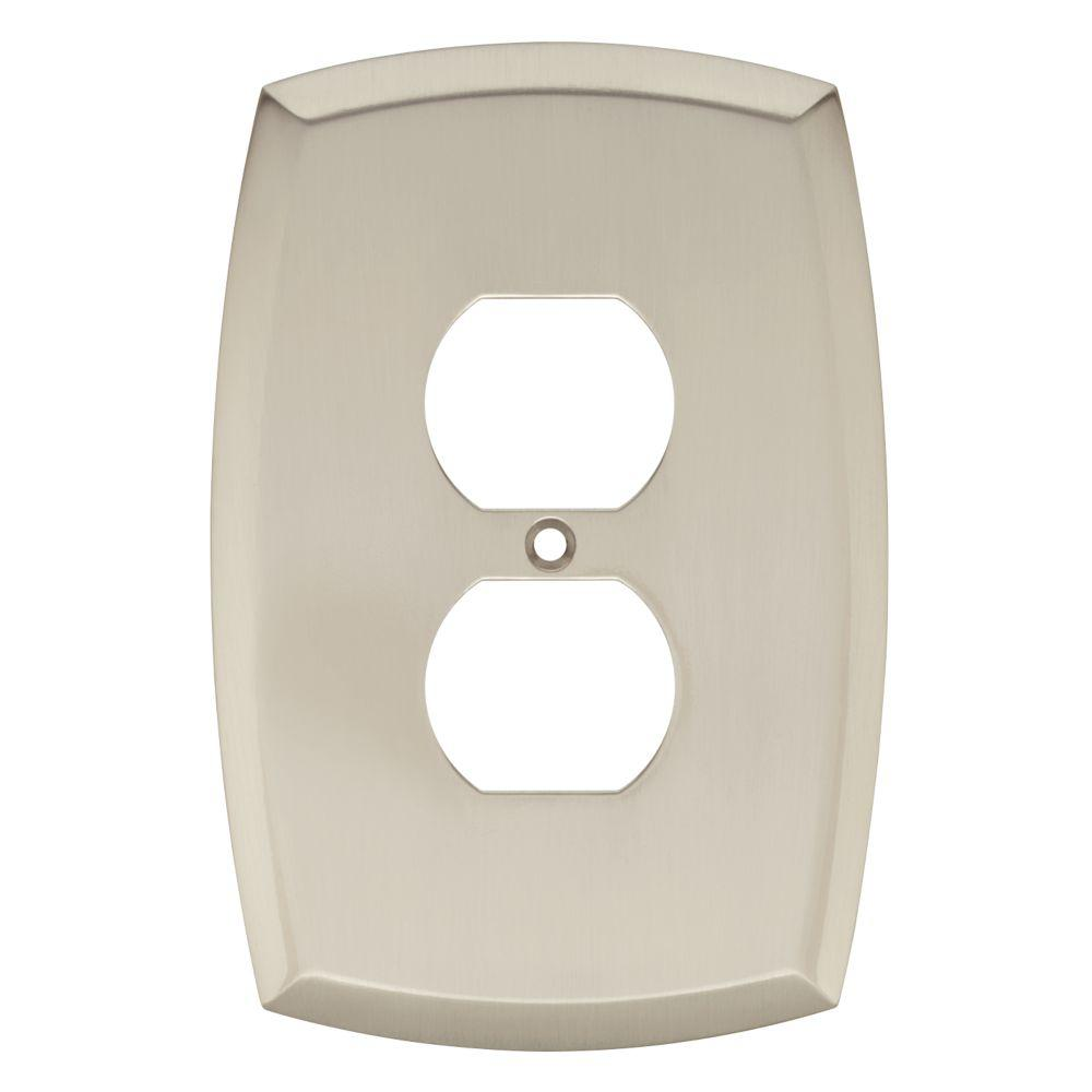 Amherst Decorative Single Duplex Outlet Cover, Satin Nickel (25-Pack)