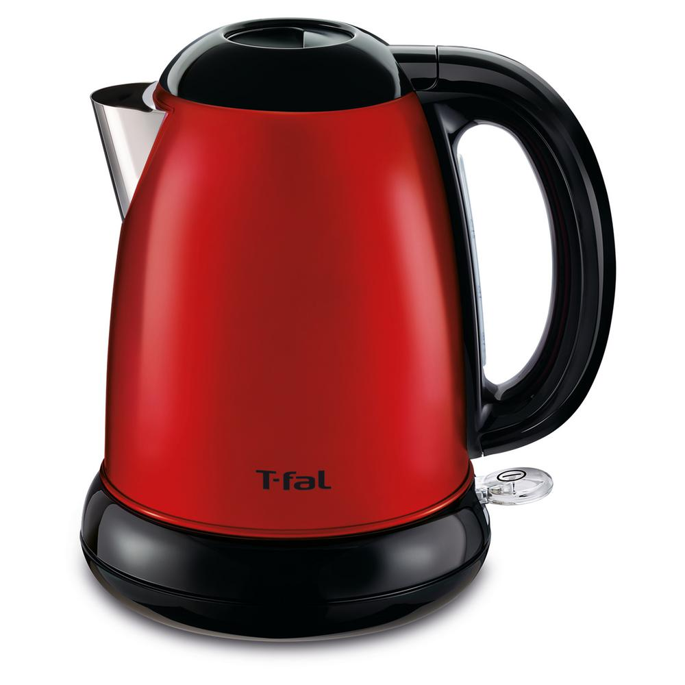 1.7 l Electric Kettle in Red The stylish 1.7 l Electric Kettle from T-fal quickly heats water for your favorite beverage or soup. The stainless steel interior and spout will not rust and is easy to clean. The 360° rotational base provides easy access from any angle. Color: Red.