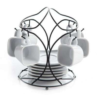 Gracious Dining 3.5 oz. White Saucer Set with Metal Rack (Set of 6)