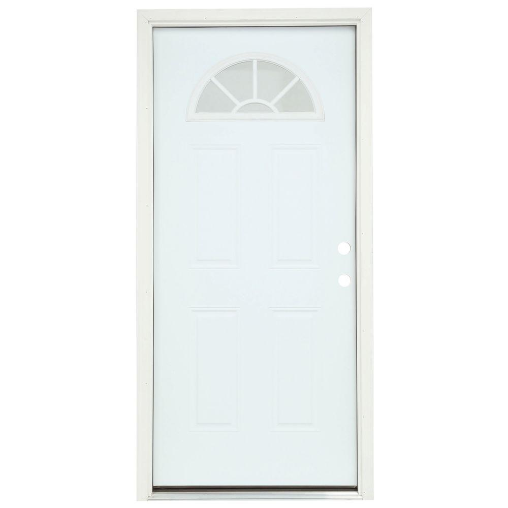 JELD-WEN 36 in. x 80 in. Fan Lite Primed Steel Prehung Left-Hand Inswing Front Door w/Brickmould