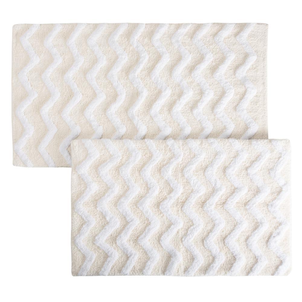 Chevron Bone 24.5 in. x 41 in. 2-Piece Bathroom Mat Set